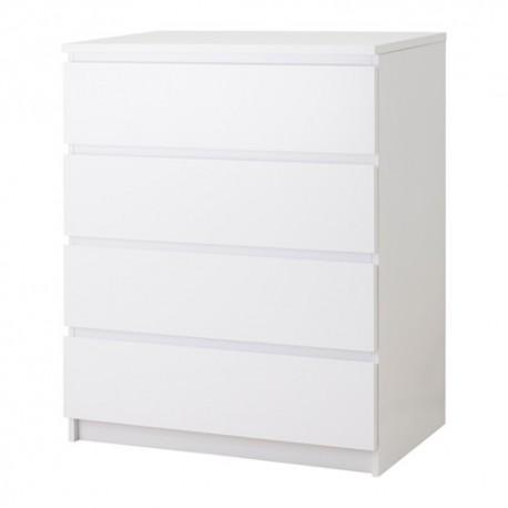Ikea Malm Cassettiera con 4 cassetti, bianco, lucido