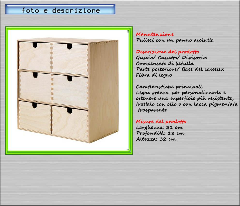 Minicassettiera compensato di betulla 31x18x32 ikea moppe for Scatole in legno ikea