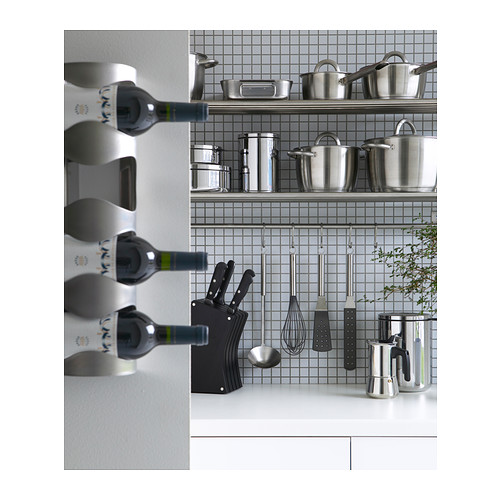 Cantinetta vino portabottiglie vino 4 posti in acciaio inox inossidabile ikea ebay - Ikea portabottiglie vino ...