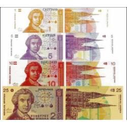 LOTTO BANCONOTE Croazia 1,5,10,25, Dinars 1991 FDS UNC