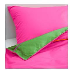 STICKAT Copripiumino e federa, rosa, verde 150x200/50x80 cm, bambini IKEA