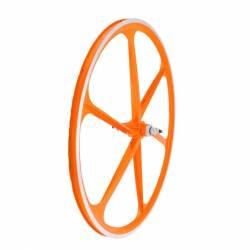 Ruota posteriore Fixed in lega, profilo 30mm a 6 razze, colore arancio neon