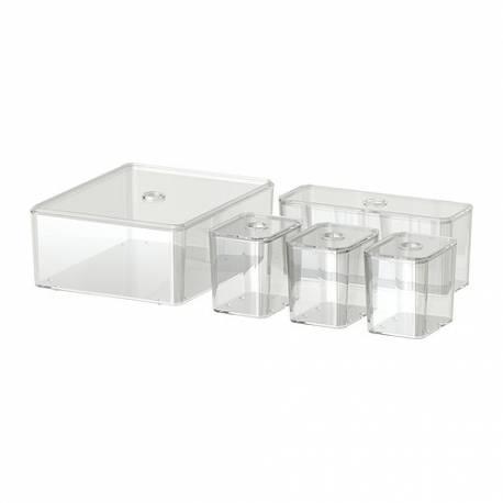 Ikea godmorgon set di 5 scatole con coperchio trasparente - Ikea scatole plastica trasparente ...