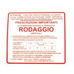 """RMS Targhetta rossa """"rodaggio"""" Piaggio Vespa Gs 150cc 610292M"""