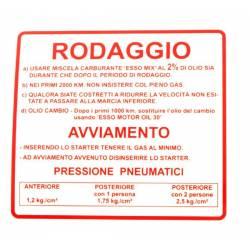 """RMS Targhetta rossa """"rodaggio"""" Piaggio Vespa Rally 180-200cc R.O. 610170M"""