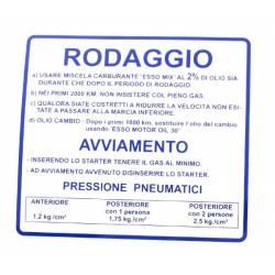 """RMS Targhetta blu """"rodaggio"""" Piaggio Vespa Rally 180-200cc R.O. 610170M001"""