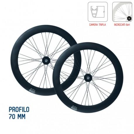 Coppia ruote fixed profilo 70mm colore nero opaco / bianco