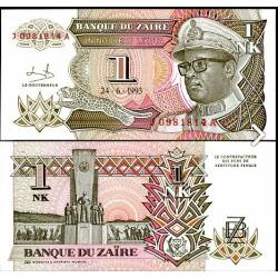 BANCONOTA ZAIRE 1 new likuta 1993 FDS UNC