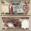 BANCONOTA ZAMBIA 5 kwacha 1986 FDS UNC