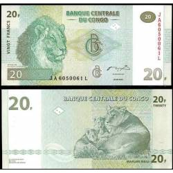 BANCONOTA CONGO 20 francs 2003 FDS UNC