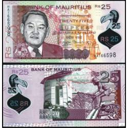 BANCONOTA MAURITIUS 25 rupees Polymer 2013 FDS UNC
