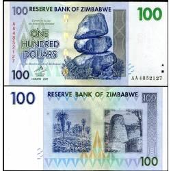 BANCONOTA ZIMBABWE 100 dollars 2008 FDS UNC