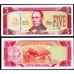 BANCONOTA LIBERIA 5 dollars 2003 FDS UNC