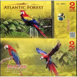 BANCONOTA ATLANTIC FOREST 2 Aves Dollars 2015 FDS UNC